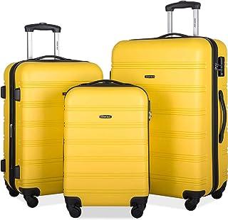 Merax Expandable Luggage TSA Locks, 3 Piece Lightweight Spinner Suitcase Set, Yellow, One_Size