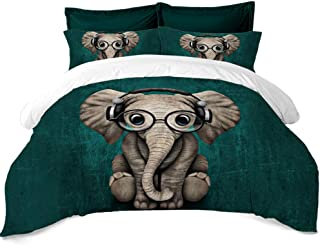 Rhap Quilt Cover Twin Size,Animal Printed Duvet Cover Twin Size,Graffiti Art Elephant Set of 3 Pieces Bedding Set,for Home Christmas Decor of Kids Bedroom