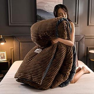 Juego de ropa de cama con funda,Manta de invierno, funda nórdica gruesa, edredón de terciopelo Coral, fundas de cama, colcha amarilla de franela, edredón de lana sólida para parejas-café_El 180x220cm