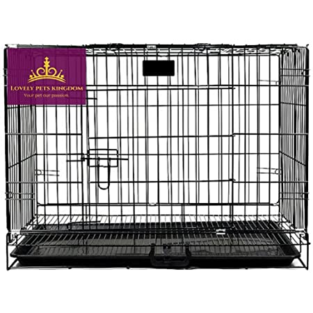 Lovely PET'S KINDOM-Double Door Folding Metal cage with Removable Tray and paw Protector for Dogs,Cats and Rabbits-24' Inch (Black)