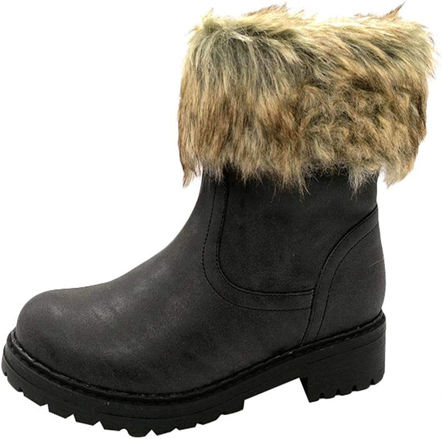 LOKOUO Ladies shoes Women Non-Slip Martin Boot Retro Slouch Keep Warm Boot Round Head shoes Flat Low Heel