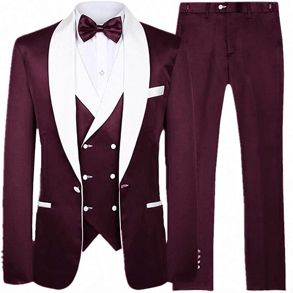 Fashion Male White Shawl Lapel Neck Tuxedo 3 Piece for Wedding Men's Prom Dress Suit Business Wear, Wine Red, X-Large