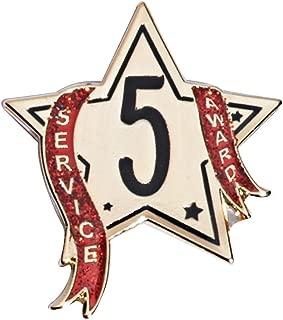 5 Year Service Star Award Pin with Red Glitter Ribbon, 12 Pins