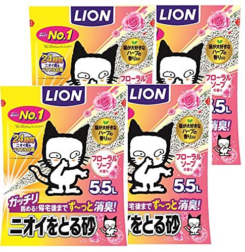 スマートマットライト 【Amazon.co.jp限定】 ニオイをとる砂 猫砂 フローラルソープ 1) 5.5Lx4袋 (ケース販売)