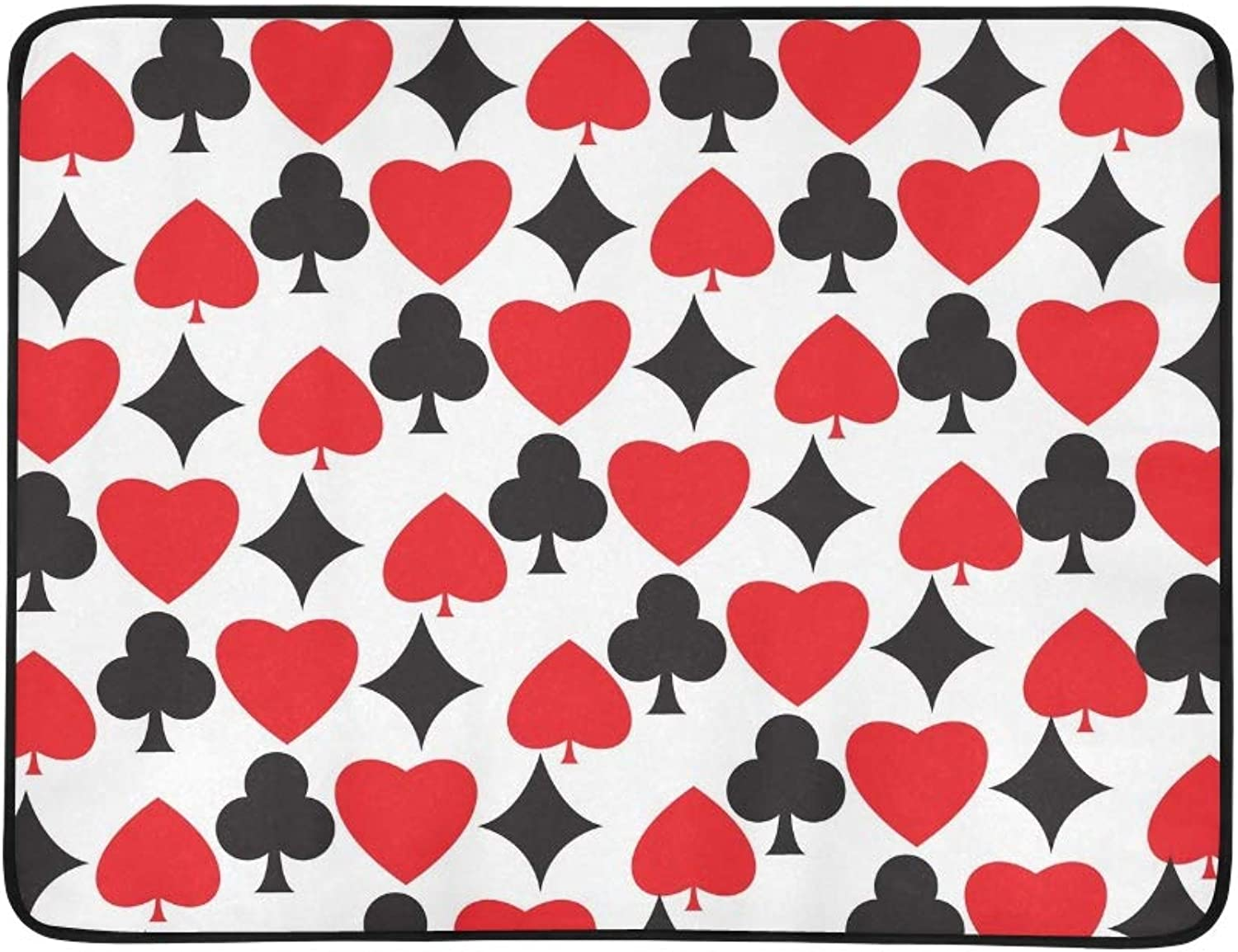 Poker Card Style with Red Black Portable and Foldable Blanket Mat 60x78 Inch Handy Mat for Camping Picnic Beach Indoor Outdoor Travel