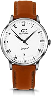 Gelfand & Co. Unisex Minimalist Watch Light Brown Leather Greenwich 36mm Silver with White Dial