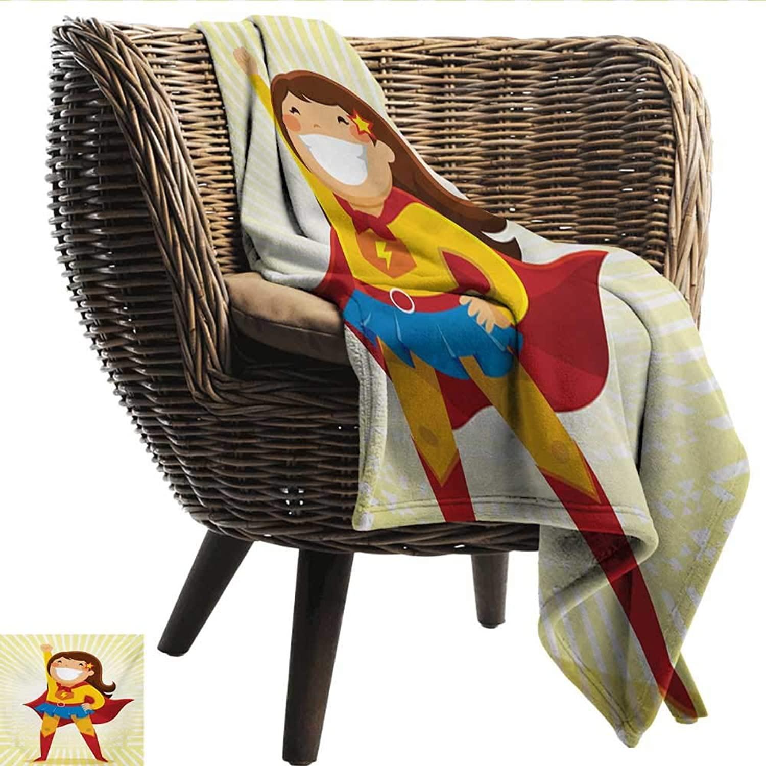 Digital Printing Blanket Superhero Courageous Little Girl with a Big Smile in Costume Standing in a Heroic Position Lightweight All-Season Blanket W60 xL51 Sofa,Picnic,Camping,Beach,Everyday use