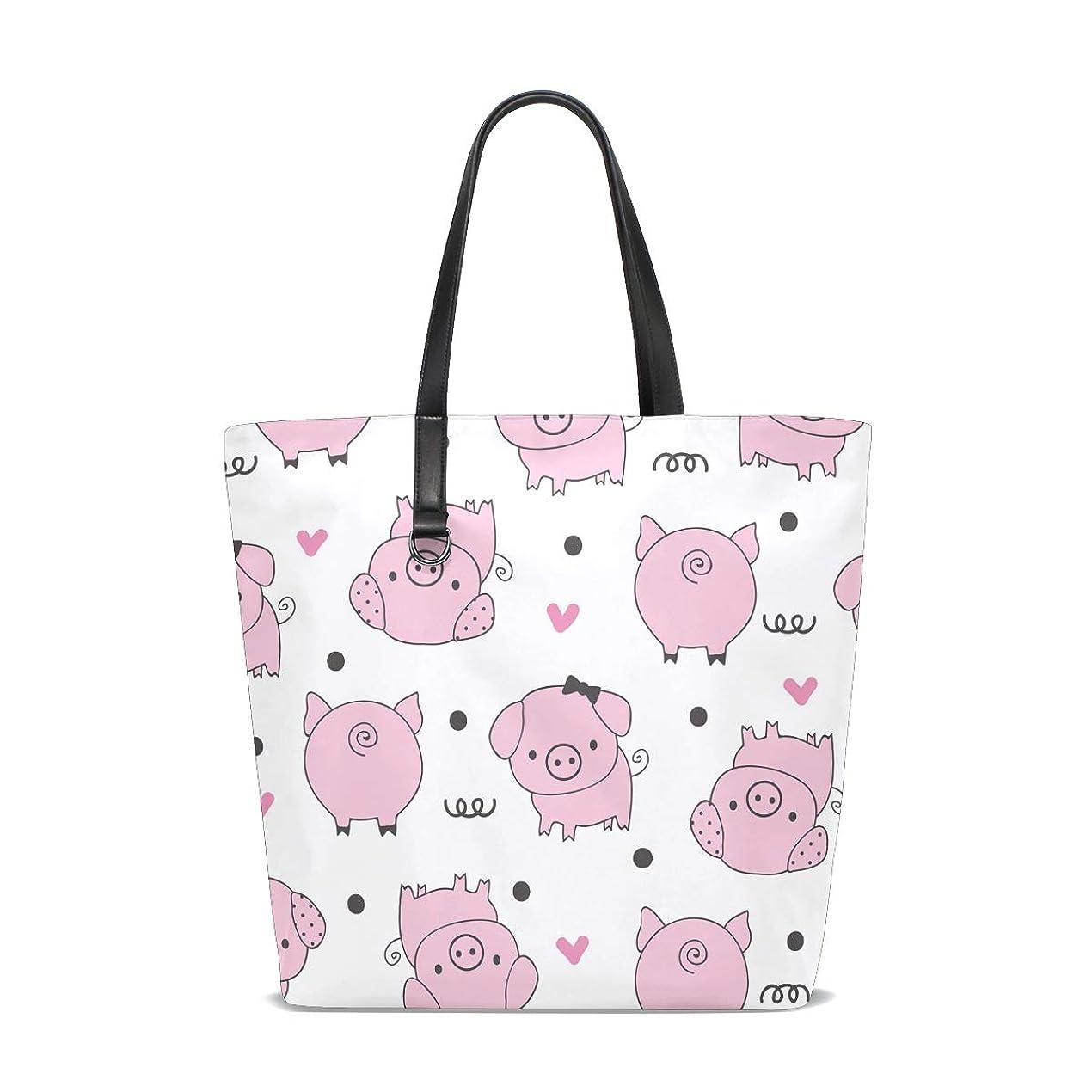 警報スイ辞任するトートバッグ かばん ポリエステル+レザー ブタ 豚柄 ピンク 両面使える 大容量 通勤通学 メンズ レディース