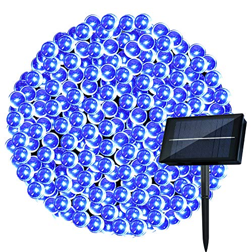 Cadena de Luces Exterior Solar - Guirnalda Luces 25M 250 LED Cadena de Luz Solar Impermeable con 8 Modos, Cable de Color Verde Oscuro,Perfecto para Exterior e Interior, Navidad Fiestas Jardín,(Azul)