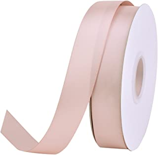 Ribest 1 inch 50 Yards Solid Double Face Satin Ribbon Per Roll for DIY Hair Accessories Scrapbooking Gift Packaging Party Decoration Wedding Flowers Vanilla