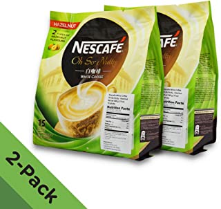 2 PACK - Nescafé Ipoh White Coffee HAZELNUT (30 Sachets TOTAL) ★ Flavored Premix Instant Coffee ★ Deliciously Milky with Creamy Nuttiness & Irresistible Hazelnut Aroma ★ Just Mix with Water, No Need of Sugar and Creamer ★ Made from Quality Beans ★ From Nestlé Malaysia