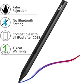 Stylus Pen for Apple iPad,Penoval Palm Rejection iPad Pencil for iPad Pro,iPad 2018,iPad air,iPad Mini(5th Gen) Active Capacitive Rechargeable Digital Pen with 2mm Replaceable Fine Point Rubber Tips