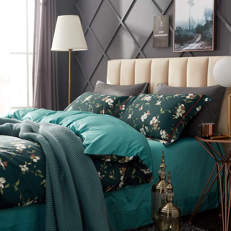 婉寇60ロングベルベットの綿4ピースの綿1.5 mのベッドの印刷サテンの長繊維の綿1.8 mのベッドのキルトカバー布団カバー200 * 230 cmの寝具YS Qihua 1.5 mベッド4枚セットのシートセット