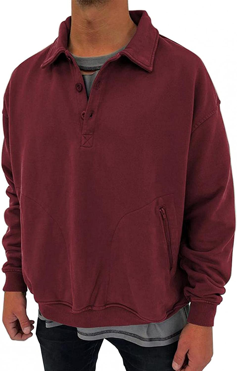 Qsctys Mens Pullover Shirts Polo V-Neck Casual Sweatshirts Solid Color Loose Fit Basic Henley Long Sleeve Fashion T-Shirt