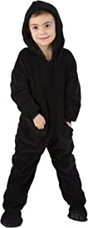 Footed Pajamas - Jet Black Toddler Hoodie Chenille Onesie