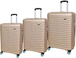 New Travel Hardside spinner luggage Set of 3 pieces with TSA Lock -Gold