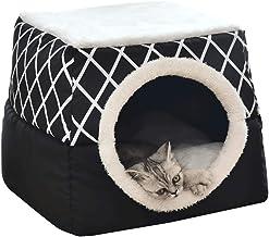 L, Grigio YunNasi Cuccia casa per Gatto Letto per Cani con Cuscino Removibile Gatto Cane Piccolo Lettini Morbido e Confortevole 35x33x30cm