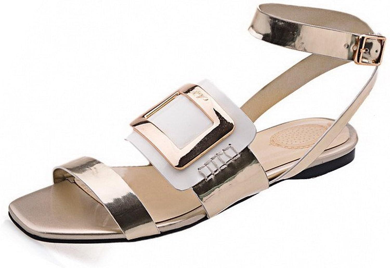 WeiPoot Women's Buckle No Heel Cow Leather Assorted color Open Toe Sandals