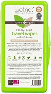 Wotnot Biodegradable Natural 20 Wipes with Travel Case, 20 Count