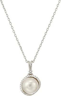 Rosa 12mm White Flat Pearl Pendant w/ CZ On Sterling Silver Chain 15-17""
