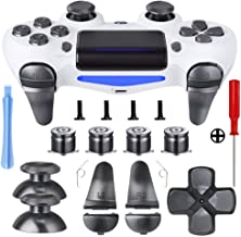 Metal Buttons for PS4 Controller Gen 2, Metal Aluminum Bullet Buttons & L1 R1 L2 R2 Triggers & D-pad & Thumbsticks Replacement Kit for PS4 Slim/PS4 Pro DualShock 4 Controll (Dark Grey)