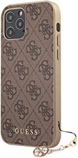 """Guess 4G PU Case w/Charm for Apple iPhone 12 Pro Max 6.7""""/Protective Case for your Mobile - (Brown)"""