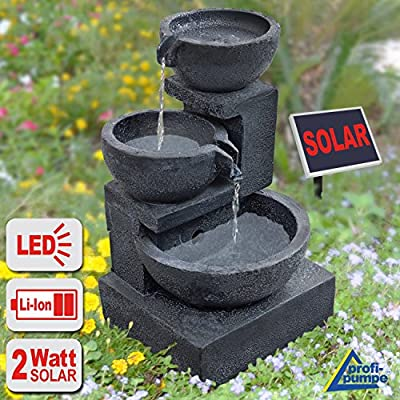 Amur Water Feature Solar Water Cascade Water Fountain Ideal For Garden Home Balcony Terrace & Bird Bath Solar Water With Led & Li-ion-battery Solar Lights Outdoors
