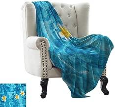 Reversible Blanket Tropical Frangipani Flower Floating in Water Pool Summertime Ecofriendly Lifestyles Anti-Static Throw 54