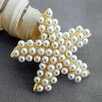 5 Gold Pearl Brooch Button Embellishment Crystal Starfish Wedding Rhinestone Brooch Bouquet Invitation Cake Decoration BT601
