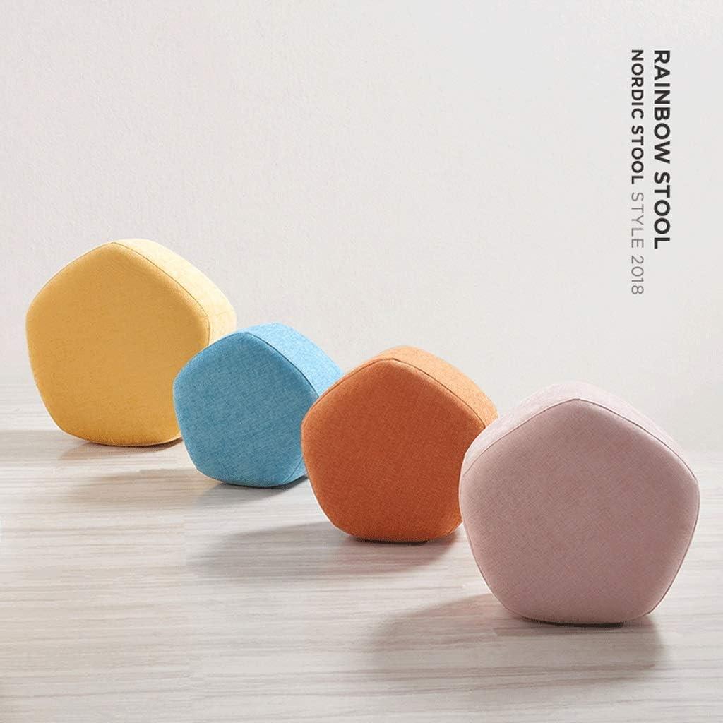 Petit Tabouret Tissu Tabouret Support En Bois Repose-pieds Ménage Lavable Canapé Bench 5 Couleurs mwsoz (Couleur : Orange) Blue