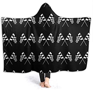 NiYoung Extra Soft Sherpa Plus Velvet Hoodie Blankets, Adults Men Women Throw Wrap Cover for Bed Couch Sofa, Super Warm Wearable Throw Racing Checkered Flag Camping Blankets
