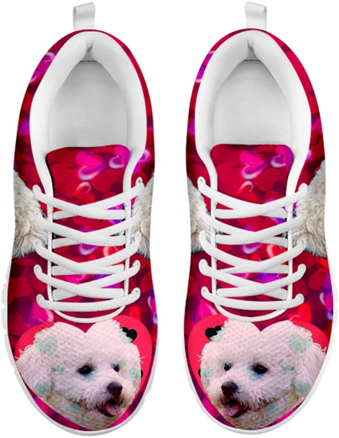 Pawlice Women's Sneakers-Cute Bichon Frise Dog On Pink Print Casual Running shoes