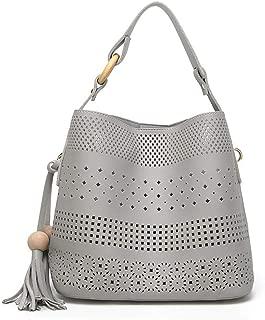 Fine Bag/Women's Handbag Retro Hollow Tassel Shoulder Bag Simple Casual Crossbody Bag Large Capacity Ladies Bucket Bag Party Work (Color : Gray, Size : 26 * 15.5 * 24cm)