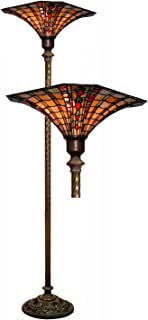 Warehouse of Tiffany 113+BB75B Large Tiffany-Style Golden Amber Torchiere, One Size, Multi-Color