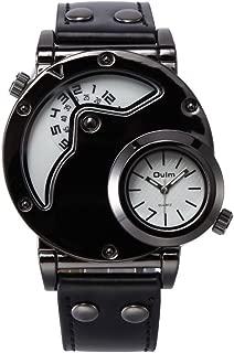 Brand HP9591 White Dial Watch Men Army Military Dual Time Movement Mens Leather Starp Quartz Wrist Watch Relogio Masculino
