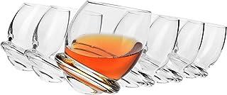 Krosno Whisky-Gläser Rocking Tumbler Rum   Set von 6   200 ML   Roly-Poly Kollektion   Perfekt für Zuhause, Restaurants und Partys   Spülmaschinenfest