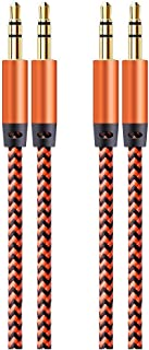 Aux Cord for Car, Wishlink 2 Pack 5ft Auxiliary Cord 3.5MM Audio Cable Nylon Braided Headphone Cable Male to Male Aux Cable for iPhone, iPad, Beats, Samsung Galaxy, Sony, Echo Dot, Tablet (Orange)