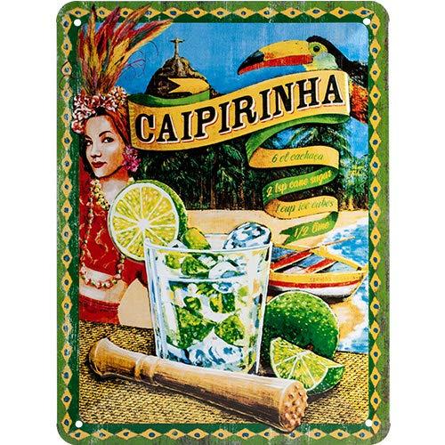 Nostalgic Art Open Bar – Caipirinha – Geschenk-Idee für Cocktail-Fans Blechschild 15x20 cm, aus Metall, Bunt, 15 x 20 cm