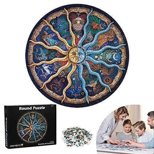 Puzzle Redondo, 1000 Piezas Redondo, Puzzle Rompecabezas, Puzzle Doce Constelaciones, Puzzle Creativo, Puzzle Circular, Juguete Educativo Intelectual Desafío Intelectual Juegos para Adultos Niños