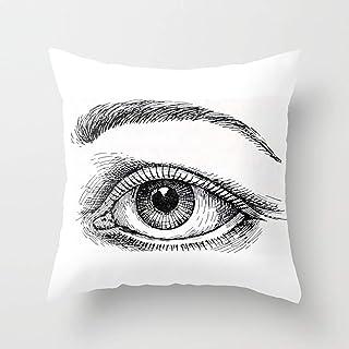 Jhonangel Beautiful Sketch Bright Eye, Funda de Almohada de Lino y algodón Funda de cojín con Cremallera Decorativa para Sala de Estar, Decoración de Coche 18 x 18 Pulgadas