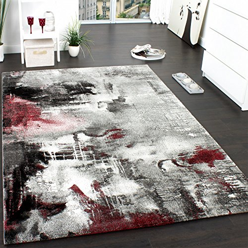 Paco Home Teppich Modern Designer Teppich Leinwand Optik Meliert Schattiert Grau Rot Creme, Grösse:80x150 cm