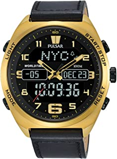 Men's Analog-Digital Watch with World-Time and Leather Strap - PZ4042X1
