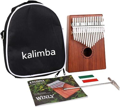TOOGOO Kalimba Pouce Piano 17 Touches Avec Acajou En Bois Avec Sac, Marteau Et Livre De Musique, Parfait Pour Meloman...