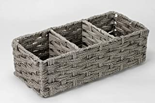 Home Expressions Faux Rattan 3 Compartment Tote Basket Bin 13.75