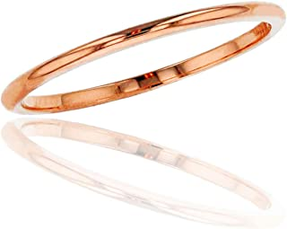 DECADENCE 10K or 14K Yellow, White and Rose Gold 1mm Plain Polished Wedding Band, Size 4-12