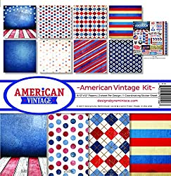 American red, white and blue scrapbook paper