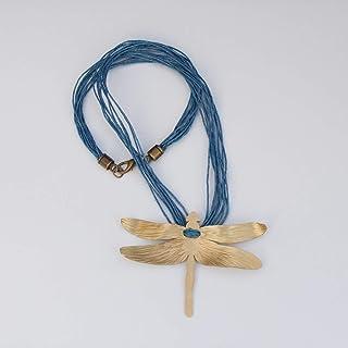 Collar libélula mujer en color dorado y cordón de lino.