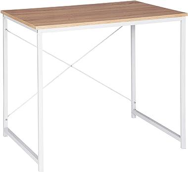 WOLTU Bureau d'ordinateur Table de Travail en aggloméré et Acier Table de Bureau, 80x60x70cm, Blanc+Chêne Clair, TSB03whe