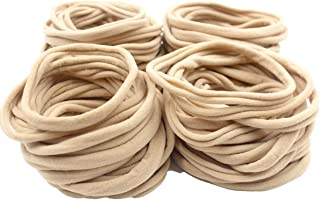 100Pcs Premium Quality Nylon Nude Headbands - Durable Hair Ties Holders for Heavy and Thick Hair - Super Soft and Stretchy for Newborns,Babies-Perfect for DIY/Craft/Hobby/Jumbo