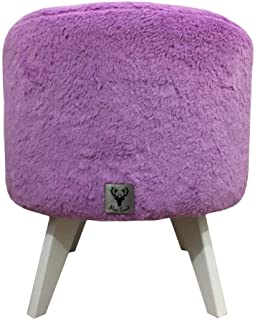 Puff Pé Palito Redondo Alce Couch Astracan Pelucia Lilás 40cm